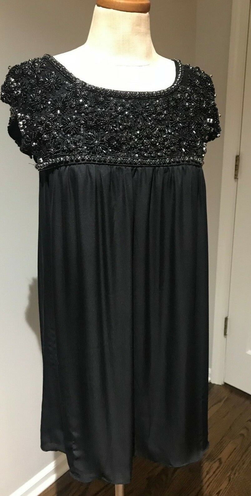 Alice and Olivia Woman's Dress Beads Sequins schwarz 100% SILK Party  Sz  S