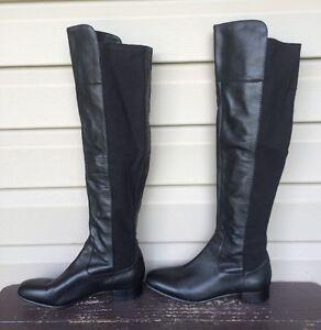 b82bfcab7b9 Details about LOUISE ET CIE LO-ANDORA TALL LEATHER STRETCH DRESS BOOTS  BLACK SZ 7 EUC! $229