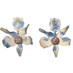 Lele-Sadoughi-blue-Crystal-Lily-Flower-Clip-Earrings-GORGEOUS-198
