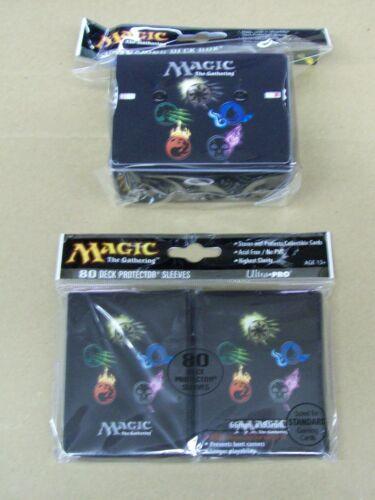 Magic 80 Mana Symbols Deck Protector Sleeves and Box with counter lot MTG