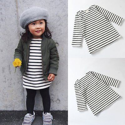 Baby Girls Infant Kids Party Clothes Long Sleeve Striped T-Shirt Long Tops Dress