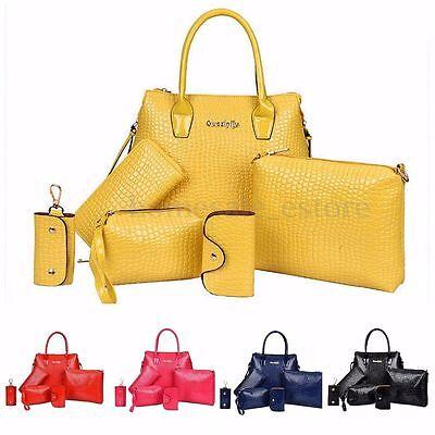 6PCS/Set Women Purse Handbag Vintage Shoulder Key Coin Bag Tote Satchel Wallet