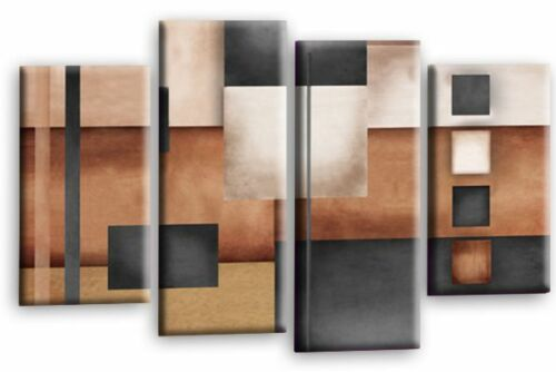 Large Abstract Art Picture Grey Beige Brown Rectangle Square Canvas Multi 112cm