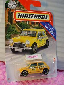 2019-Matchbox-96-039-64-AUSTIN-MINI-COOPER-yellow-taxi-cab-SERVICE-19-20-CASE-N