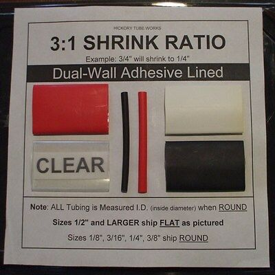 """Dual-Wall Adhesive Lined Heat Shrink Tubing 3:1 Ratio 1/"""" BLACK 4 Ft"""