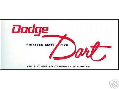 1965  65   DODGE DART OWNER/'S MANUAL