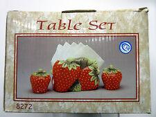 New Red Strawberry Tissue Napkin Holder & Salt Pepper Shaker Set Strawberries