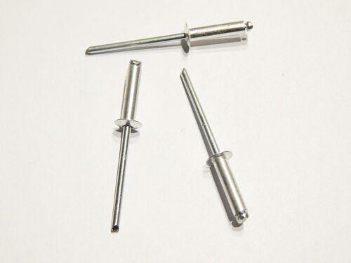 100 Blindnieten Popnieten Alu//Stahl 2,4 x 12,0 mm Nieten Flachkopf DIN 7337