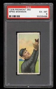 Rare 1909-11 T206 Spike Shannon Piedmont 350 Kansas City ML PSA 6 EX - MT