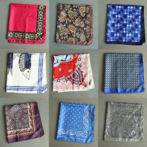 New-55CM-Mens-Handkerchief-Silk-Floral-Print-Wedding-Party-Large-Pocket-Square