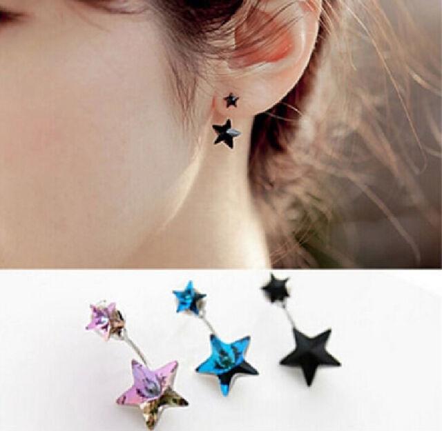 New Korean Ladies Elegant Cute Crystal Rhinestone Star Ear Stud Earrings Jewelry