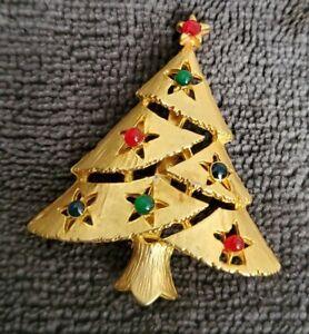 Vintage-EISENBERG-ICE-goldtone-Christmas-Tree-Brooch-Pin