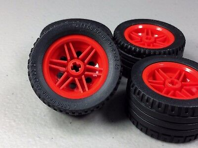 Lego Wheel Red 30.4mm D x 20mm No Pin Holes Black 43.2X22 ZR Tire Lot of 4