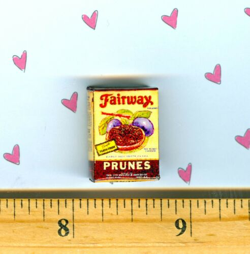 Discontinued  DOLLHOUSE Miniature Dried Prunes Box