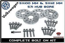 20mm Hub Centric Wheel Spacers 5x100 5x112 (57.1 H.B) - VW MK4 MK5 MKV GOLF GLI