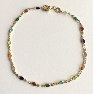 """Jewelry & Watches Humor 18ct Chapado En Oro Multicolor Circonita Cúbica Anklet-9.5"""" Fashion Jewelry Tobillera-9.5"""""""