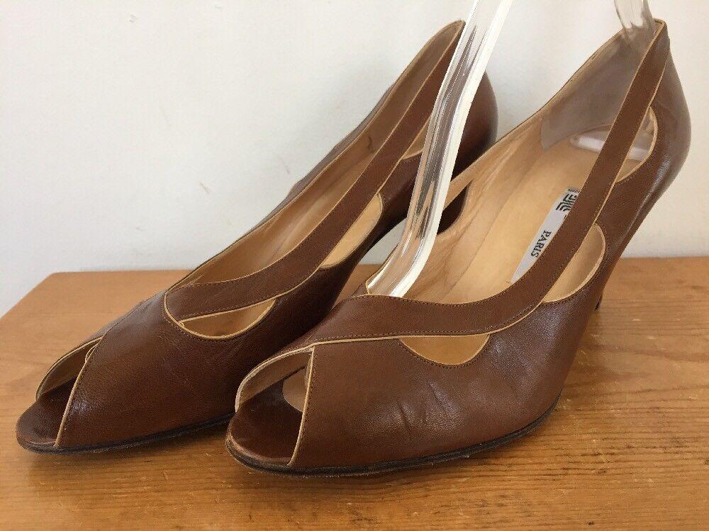 Vintage Lanvin Paris Peep Toe braun Italian Soft Leather High Heel Pumps 8.5 39