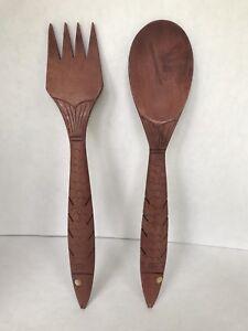 Vintage Carved Wood Fork and Spoon Serving Utensils Salad Server Set