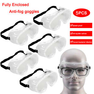 1/2/5X Safety Goggles Over Glasses Clear Eye Protective Lab Work Shield Goggles