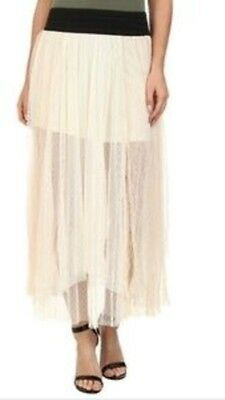 NWT Free People Tulle Midi Skirt Size Small Ivory Lace