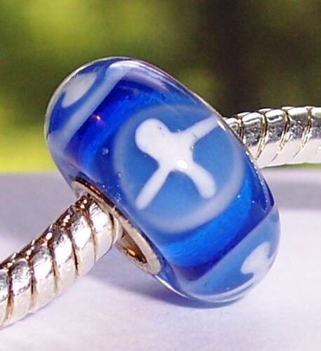 Blue White Single Core Murano Glass Bead Gift for Silver European Charm Bracelet