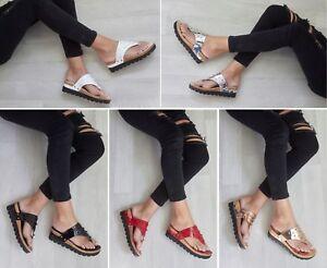 Senoras-para-mujer-Toe-Post-Tachas-Cuna-Verano-Sandalias-Ojotas-de-Bajo-Zapatos-Talla