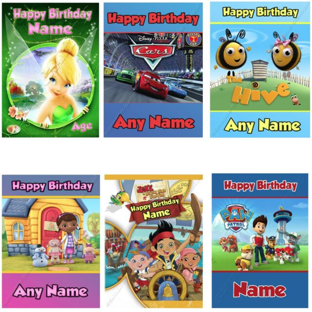 c075; Large Personalised Birthday card; Custom made for any name; Postman /& cat