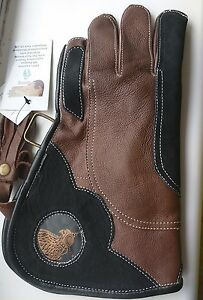 Falconry-Glove-Triple-Skin-Nubuck-Leather-12-Inch-3-Layer-Light-Brown-amp-Black