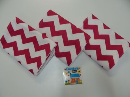 Toweling Backed GREAT GIFT IDEA!! Burp Cloths Chevron Hot Pink Set of 3