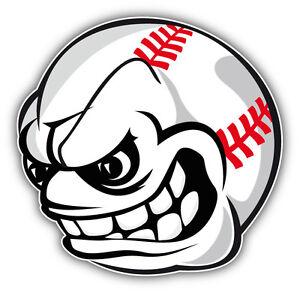 angry baseball face mascot car bumper sticker decal 5 x 5 ebay