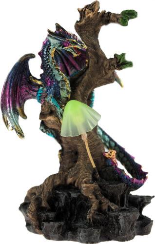 Woodland Defender 16.5cm LED Light Up USB Purple Dragon Ornament Figurine