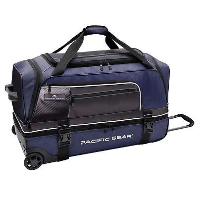 "Pacific Gear Drop Zone Navy 30"" Large Drop Bottom Wheeled Duffel Bag Roller"