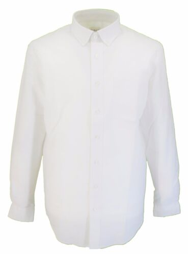 Da Uomo Farah Classica Oxford Bianco Maniche Lunghe Mod Button Down SHIRT