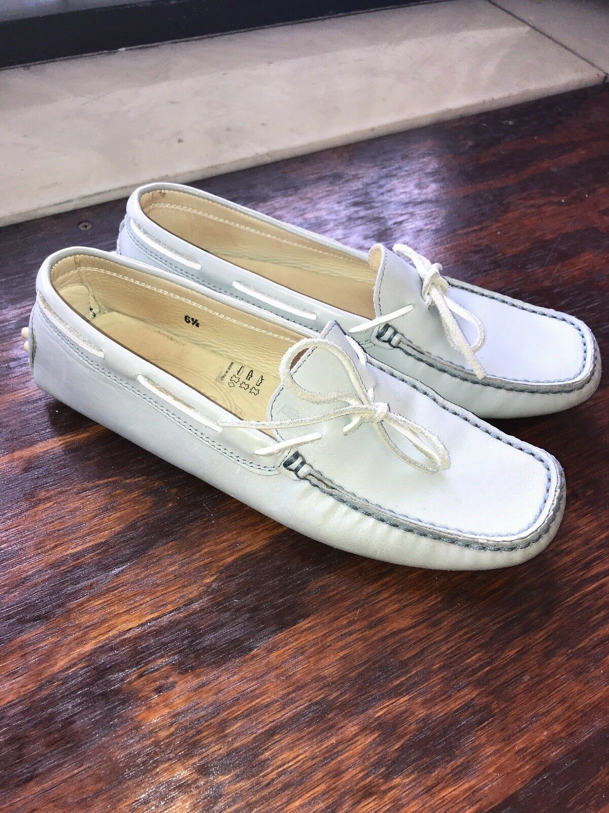 Tod's Light blu Leather Driving Loafers, 6.5