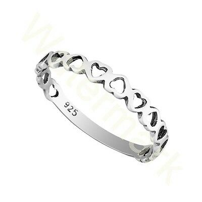 Sterling Silve Heart ❤️ Stacking  2.5mm Band Ring In Sizes G-Z