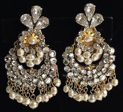 Vintage Miriam Haskell Chandelier Earrings~Baroque Pearls/Crystals/RS/Gold Tone