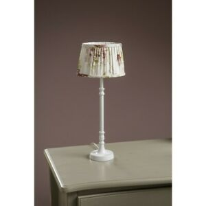 White Country Table Lamp with Pleated Floral Shade
