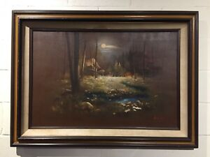 Gary Jenkins Signed Original Oil Painting The Forest 24 X 36 Frame