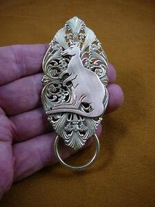 (E-840) Kangaroo Kanga joey Eyeglass scrolled brass pin pendant ID badge holder