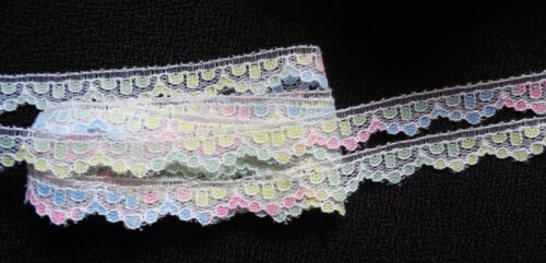 1//2 Inch wide Flat White-Spring Multi Colored Raschel Lace price for 3 yard