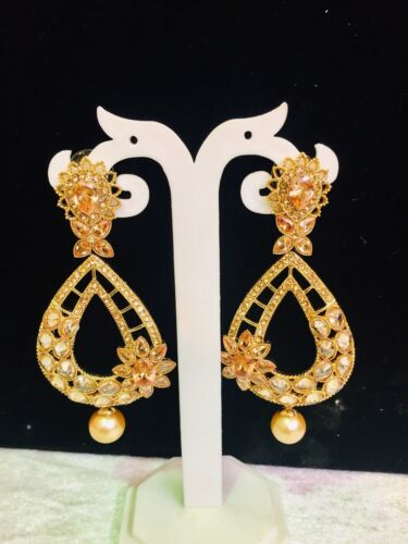 Indian Stone Jumka Jumki With Pearl Earrings Pakistani Traditional Wedding Style