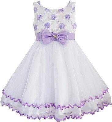 Flower Girl Dress Purple Flower White Tulle Pleated Wedding Party Size 2-10