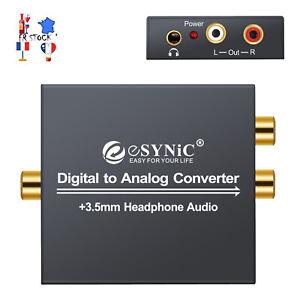Convertisseur audio analogique numérique / analogique coaxial optique RCA R / L