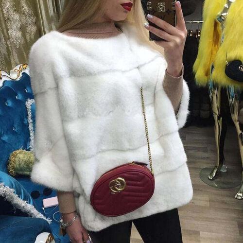 Women Real Whole Skin Mink Fur Coat Jacket Poncho Cape Pullover Shawl Outwear