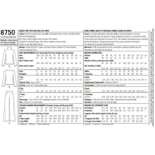 Patrón de simplicidad 8750 pérdidas de Pierna Ancha Pantalones /& reunidos Top patrón de costura