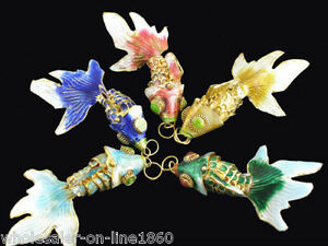 Vintage-5pc-Enamel-Chinese-Cloisonne-Gold-Fish-Articulated-Gold-Filigree-Pendant