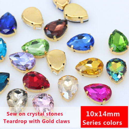 30p 10x14mm teardrop Costume Dress Color crystal sewing on Rhinestone gold plate
