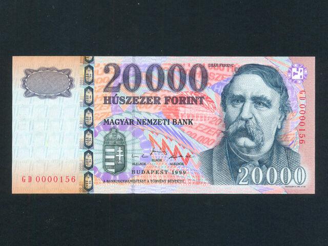 Hungary:P-184,20000 Forint,1999 * Deak Ferenc * Low Serial # 156 * UNC *