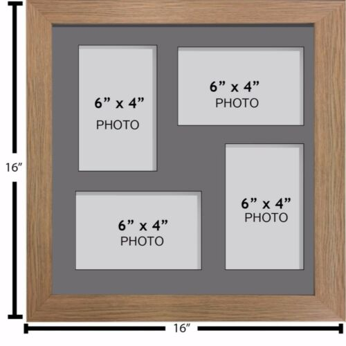 """Large multi picture photo aperture frame fits 4 photos of size 6"""" x 4"""" inches"""
