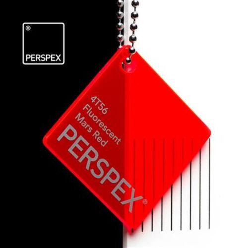 Fluorescent Rouge Acrylique perspex 4T56 Mars Couleur Feuille Plastique 3mm 5mm
